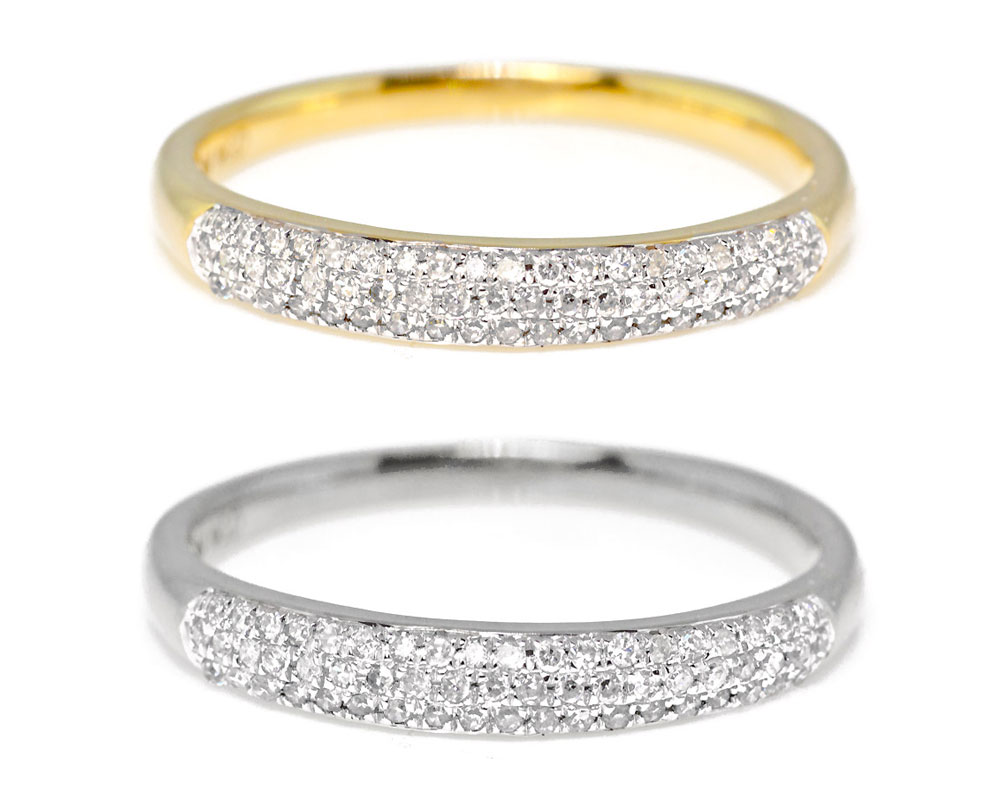 bands white diamond wb platinum three pave band pav quarter double in row way french gold wedding