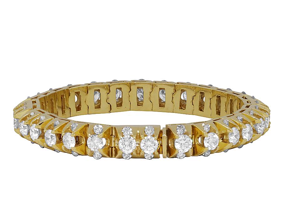 Mens 14K Yellow Gold 4 Prong 3D Solid Tennis Diamond Bracelet ...