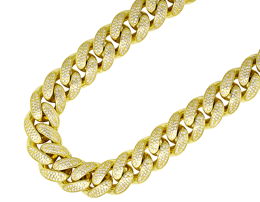 27684943e4ef6 Details about Sterling Silver Yellow Gold Lab Diamonds Miami Cuban Link  Chain Necklace 16mm