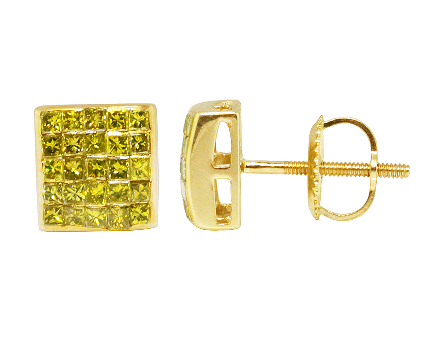 10K Yellow Gold Invisible Princess Real Canary Diamond 5mm Stud earrings .25ct