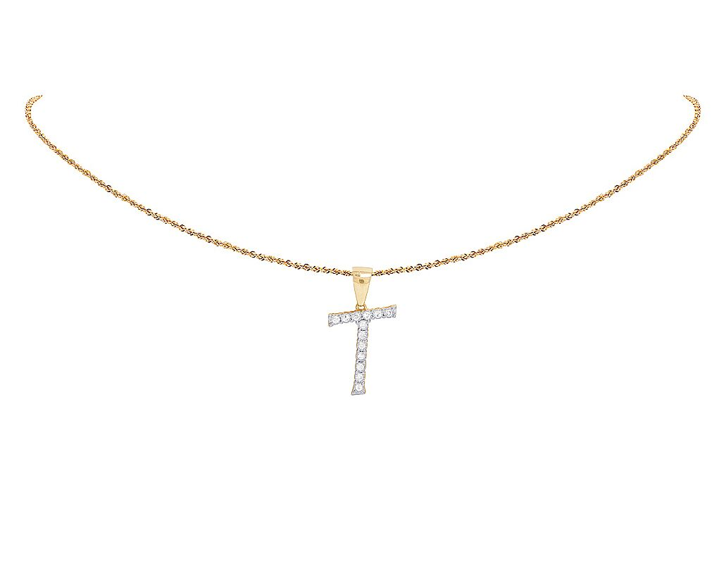 t initial in qp gold necklace diamond letter pendant