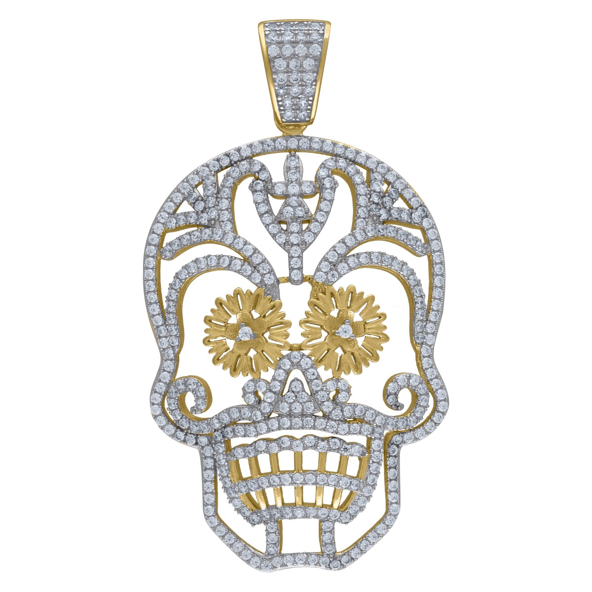 Mens Sterling Silver Yellow Gold Finish Skull Simulated Diamond
