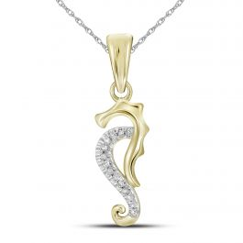 10K Yellow Gold Seahorse Pendant with 0.04 CT Diamonds