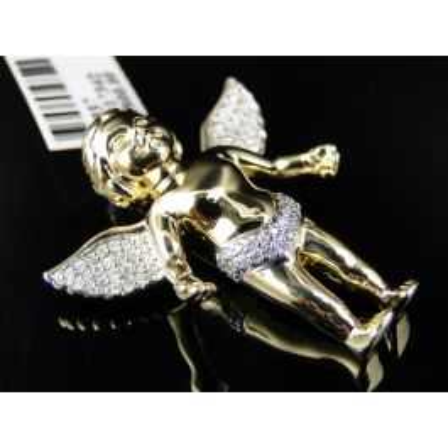 Details about  /14K Yellow Gold Satin /& Diamond-Cut Angel Cherub Charm Pendant 0.63 Inch