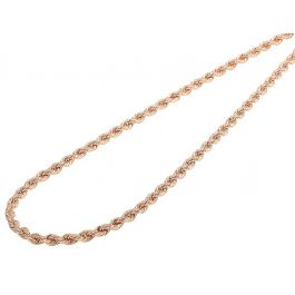 -90 14K Solid Rose Gold Rope Chain 3.0 Grams W 18 inches 45 CM 1.2 mm L