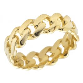 9ca4e2dab8510 Solid 10K Yellow Gold Miami Cuban Link Ring Band 7MM