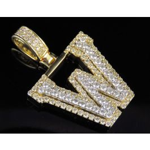 "Men/'s White Gold Finish White Simulated Diamond Puff Pillow Pendant Charm 1.9/"""