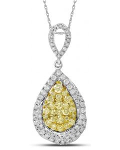 14K White and Yellow Gold Teardrop Pendant with 1.35 CT White and Yellow Diamonds