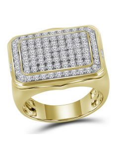 Mens 10K Yellow Gold Square Pinky Diamond Ring 2.75 Ct