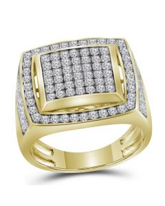 Mens 10K Yellow Gold Square Pinky Diamond Ring 2.0 Ct