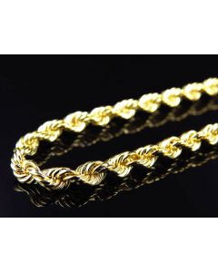 Solid 10K Yellow Gold Rope Chain 4 MM 18-30 Inches