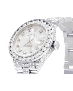 Ladies Rolex Datejust 26MM White MOP Dial Diamond Watch (10.5 Ct)