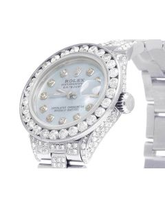 Ladies Rolex Datejust 26MM Blue MOP Dial Diamond Watch (10.5 Ct)