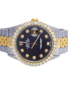 Rolex Datejust 18K/Steel Two Tone 36MM Black Dial Diamond Watch 3.0 Ct