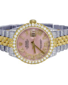 Rolex Datejust 18K/ Steel 36MM Pink Dial Diamond Watch 13.0 Ct