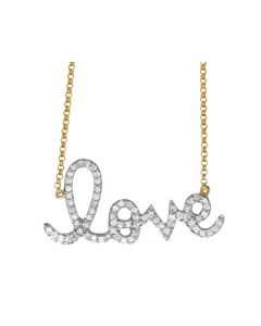 14K Yellow Gold Ladies Love Charm Necklace .45 ct