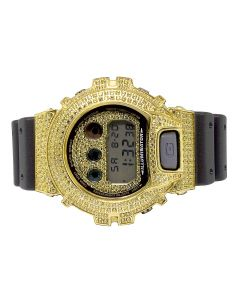 Casio G Shock 6900 Canary Simulated Diamond Watch 5.5 Ct in Yellow Gold Finish