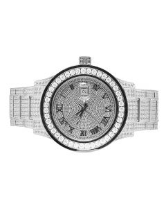 Mens Jewelry Unlimited White Gold Simulated Diamond Watch 45MM