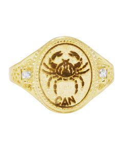 Men's Real 10K Yellow Gold Cancer Lucky Crab Zodiac Ring 14MM