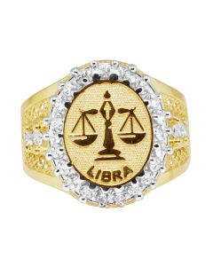 Men's Real 10K Yellow Gold Libra Scales Zodiac Lab Diamond Ring 20MM