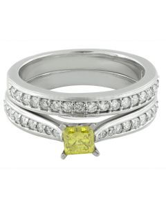 10K White Gold Treated Canary Diamond Solitaire Engagement Ring Set 1ct