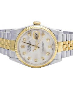 Rolex Datejust 18K/ Steel 36MM Fluted Bezel MOP Dial Watch