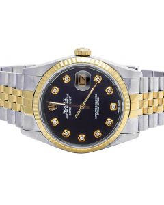 Rolex Datejust 18K/ Steel 36MM Fluted Bezel Black Dial Watch