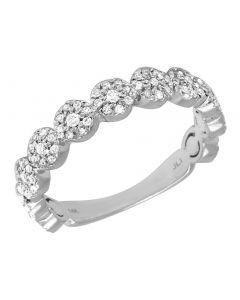 Ladies 14K White Gold Flower Cluster Wedding Band 4MM 0.50 CT