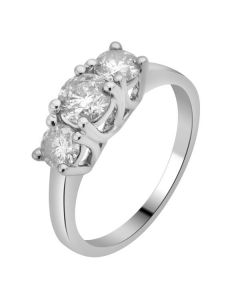 14K White Gold Real Diamond 3 Stone Engagement Ring 1.50ct