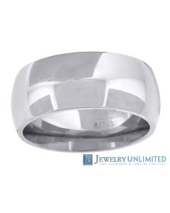 10K White Gold Mens Ladies Comfort Fit Wedding Band Ring 8mm