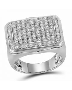 Mens 10K White Gold Square Pinky Diamond Ring 2.75 Ct