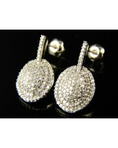 Cluster Diamond Dangle Stud Earrings In 10K White Gold