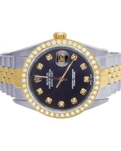 Rolex Datejust 18K/ Steel 36MM Black Dial Diamond Watch 2.5 Ct