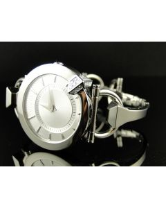 Ladies Stainless Steel Gucci Diamond Bangle Watch
