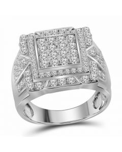 Mens 10K White Gold Square Pinky Diamond Ring 2.25 Ct