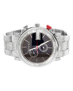 Mens Custom Gucci G-Chrono YA101361 Full Diamond Watch 10.0 Ct
