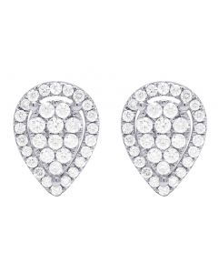 14K White Gold 0.60CT Diamond Pear Shaped Studs Earrings 6MM