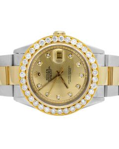 Rolex Datejust 36MM 16013 18K/ Steel Two Tone Oyster Diamond Watch 5.25 Ct