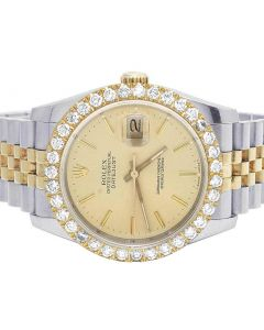 Rolex Datejust 18K/ Steel 116233 Champagne Dial Diamond Watch 4.0 Ct