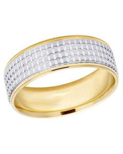14K Two Tone Gold Mens Ladies Comfort Fit Wedding Band Ring 7MM