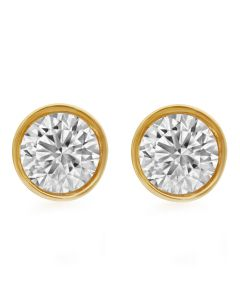 Unisex 14K Yellow Gold Solitaire Bezel Studs Earring 1.0ct