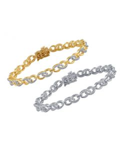Ladies Link Style Bracelet with Diamond Accents