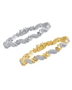 Ladies XO Tennis Bracelet with Natural Diamond (0.25ct)