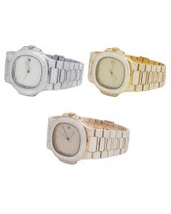 Mens Iced Out Steel PP 40MM Rose Yellow White Simulated Diamond Watch