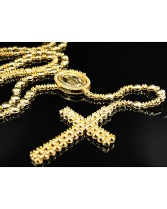 Yellow Diamond Rosary Necklace/Pendant Set in 10K - Primary