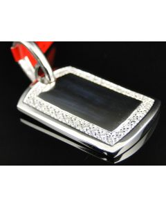 Dog Tag Diamond Pendant in Stainless Steel (0.50ct) - Primary