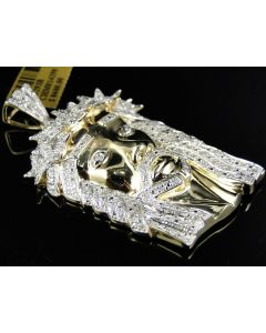 Pave Set Diamond 2.1 Inch Jesus Pendant in Yellow Silver (1.2 Ct)