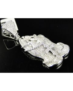 Pave Set Diamond 2 Inch Praying Hands Pendant in 14K White Gold (3.5 Ct)