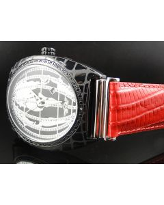 King Master Oval Globe Red Reptile Diamond Watch