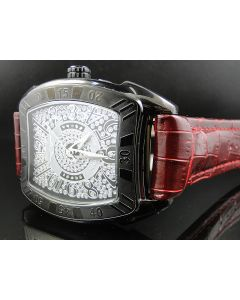 King Master Rounded Burgundy Reptile Diamond Watch